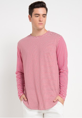 B-Side by Bleach Project red Striped Scoop Longsleeves Tee BS692AA0VRRGID_1