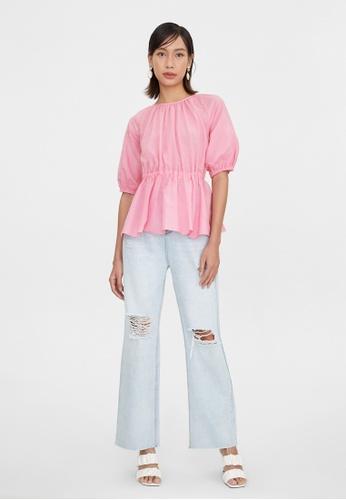 Pomelo pink Puff Sleeves Open Back Peplum Blouse - Pink 73EADAACBD304DGS_1