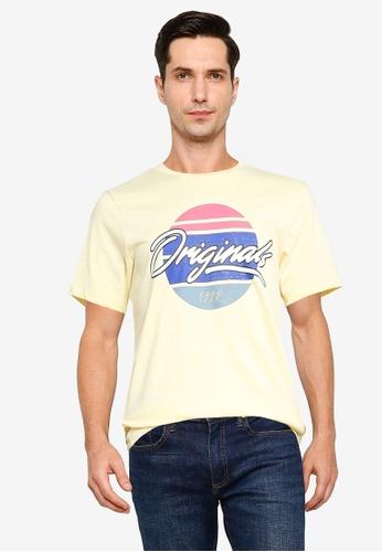 Jack & Jones yellow and beige Cody Short Sleeve T-Shirt 0AF3FAA123900BGS_1