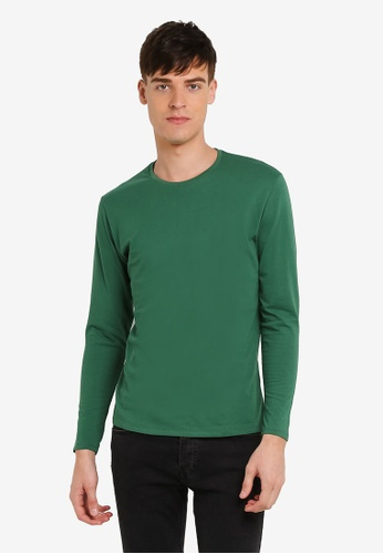 Electro Denim Lab green Cotton Crew Neck Tee EL966AA0RWIHMY_1