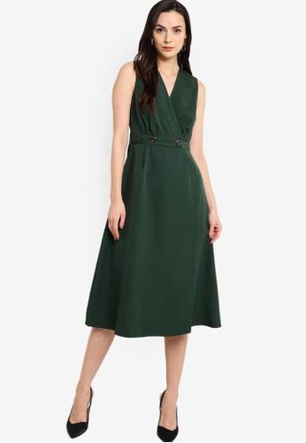 ZALORA WORK green Button Detail Midi Dress E3019AA988649DGS_1