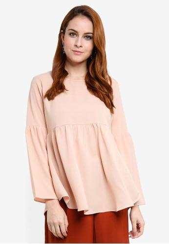 Aqeela Muslimah Wear beige Gathered Top 73AEAAAAF77856GS_1