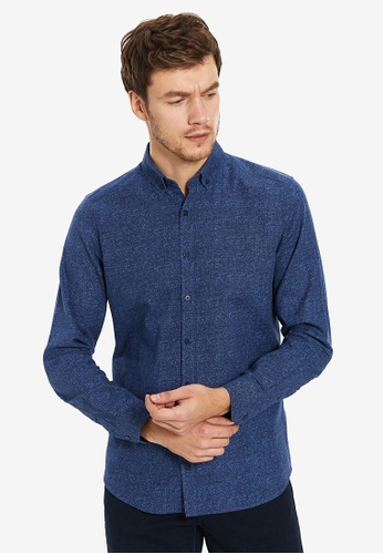 LC Waikiki 藍色 素色 修身Fit 長袖襯衫 0660BAA6910F95GS_1
