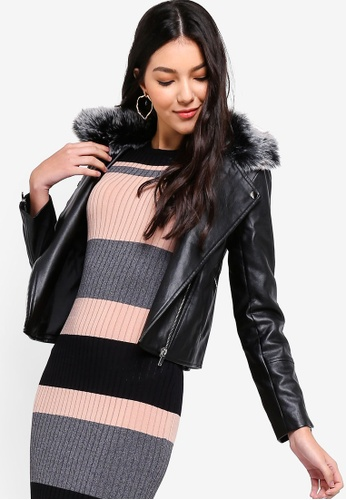 ZALORA black Detachable Faux Fur PU Jacket 792ABAAC0A48FCGS_1