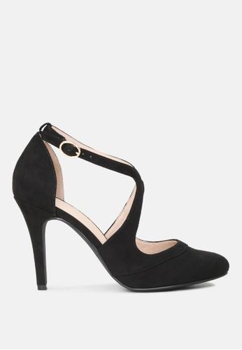 London Rag black Close Toe Cross Strap Heel Sandal AB0D7SH70E2E13GS_1