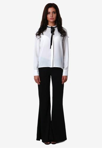 NOBASIC white Velvet Trimmed Shirt NO444AA0GR8USG_1