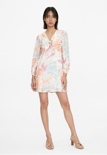 Pomelo pink Front Bow Tie Dye Dress - Pink D4477AAFE20C43GS_1