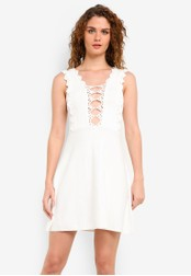 TOPSHOP white Crochet Trim Knitted Dress TO412AA0RMX9MY_1