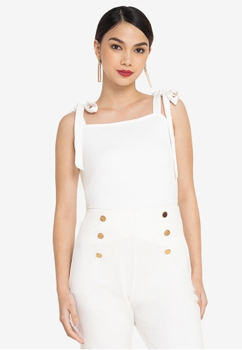 ZALORA OCCASION white Tie Sleeves Top 63DD4AADD25A64GS_1