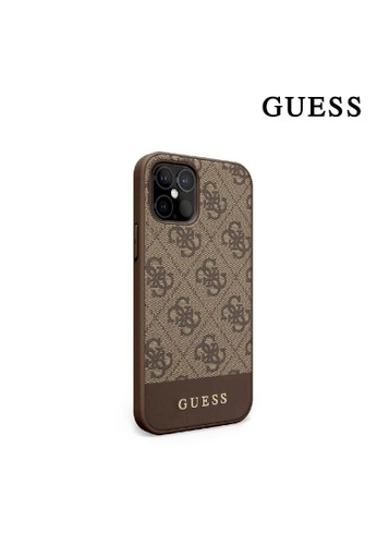 Guess brown Case IPhone 12 Pro Max Guess 4G PU Bottom Stripe Brown A68CEESC01E11AGS_1