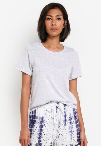TOPSHOP grey PETITE Round Neck T-Shirt TO412AA0S7U7MY_1