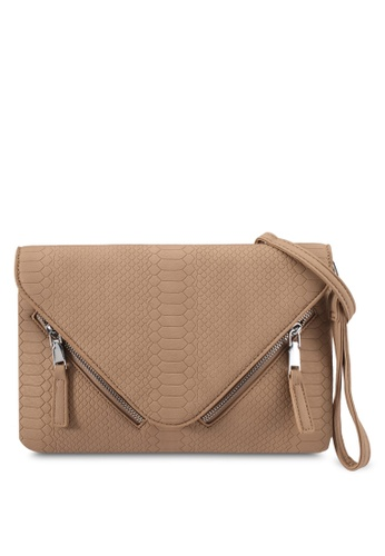 Something Borrowed beige Zip Detail Clutch 976BDZZ0FC6F30GS_1