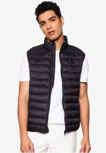 !Solid black Hallie Puffer Vest 10CFDAA801F825GS_1