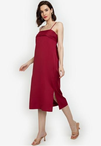 ZALORA WORK red Panel Detail Cami Dress EE906AA8E4B19DGS_1