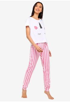 c6835ffeba South Beach Unicorn Face Tee   Pink Stripe Leg Pajamas S  37.90. Sizes S M L