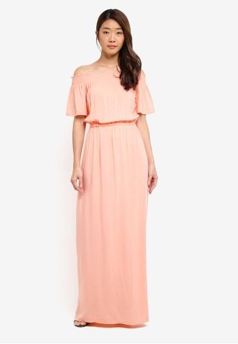 Dorothy Perkins pink Coral Bardot Maxi Dress AF5FBAA51FC58FGS_1