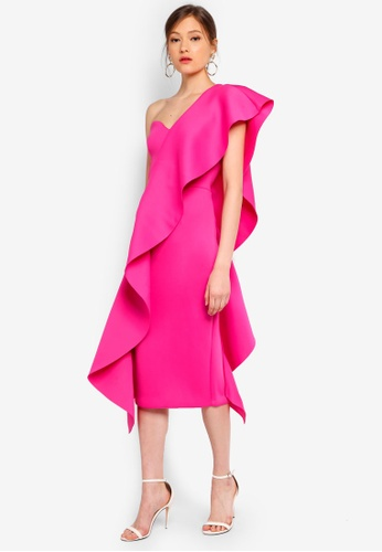 Lavish Alice pink Exaggerated Frill One Shoulder Scuba Midi Dress 8DC21AA2F51E31GS_1