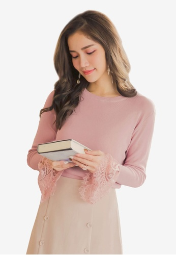 YOCO pink Lace Hem Top 8E459AA9230003GS_1