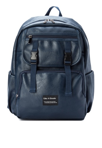 Giles N Brooks navy Jun-ho Synthetic Leather Backpack GI308AC0KFXKPH_1