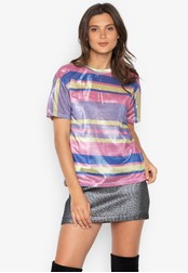Chase Fashion multi Color Block Stripe Festival Glitter Shirt 5D3D4AAEFCDAE1GS_1
