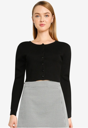Urban Revivo black Crop Knit Cardigan D8172AA5166B1EGS_1