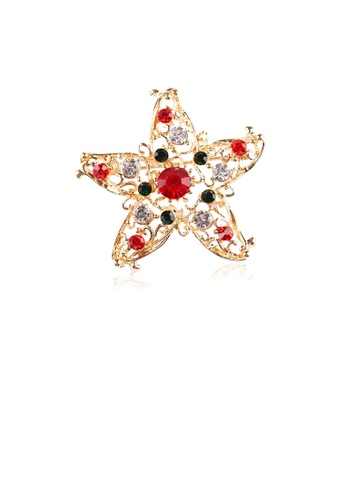Glamorousky silver Simple and Fashion Plated Gold Hollow Star Brooch with Cubic Zirconia AC7EFAC19A1C76GS_1