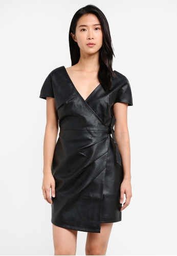 TOPSHOP black Faux Leather Wrap Mini Dress TO412AA0SD6PMY_1