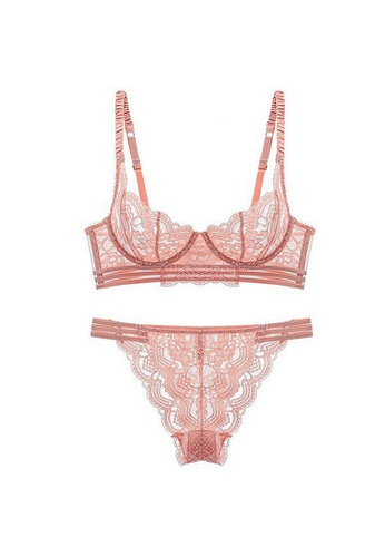 LYCKA pink LMX1001-Lady Sexy Lace Lingerie Sleepwear Two Pieces Set-Pink 3DC24US3FAA22AGS_1