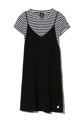 Fingercroxx black Candystripe Stripe pinafore dress 0DC4FAAF51E797GS_1