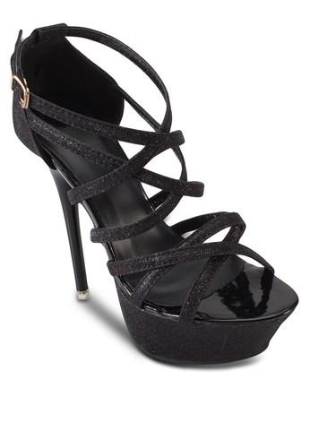 亮面多帶包跟厚底高跟鞋, esprit旗艦店女鞋, 鞋