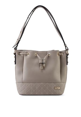 Unisa beige Faux Leather Quilted Bucket Bag DE6B8ACBF62970GS_1