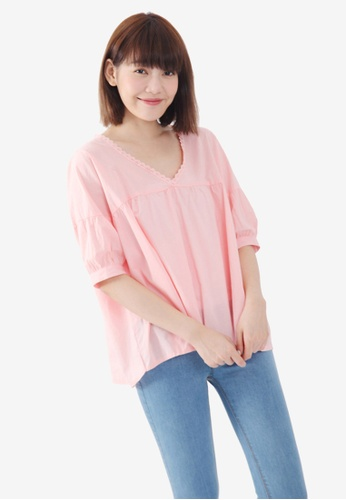 Tokichoi pink Lace Trim Blouse F867FAAFD7B000GS_1