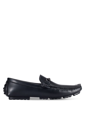 ZALORA black Faux Leather Moccasins with Front Detail 098EESHBF89131GS_1
