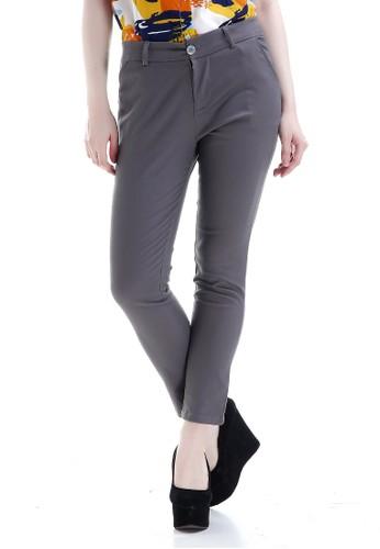 Evernoon grey Tinsley Celana Chino Bawahan Wanita Kasual Motif Solid Long Pants Woman - Grey 4E7E6AAA0EE576GS_1