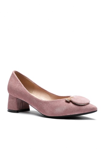 Twenty Eight Shoes 粉紅色 4.5CM 尖頭仿皮低踭鞋999-57 96703SH39238D2GS_1