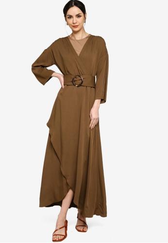 Zalia brown Rayon Belted Flared Dress BF6B0AAEB9C9E5GS_1