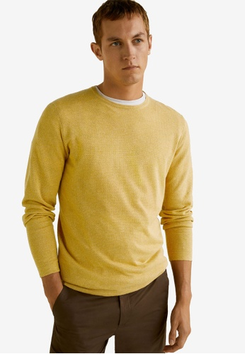 Mango Man 黃色 Structured Linen Cotton Sweater 0EA0DAA49F1992GS_1