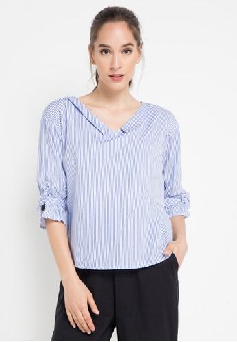 Ninety Degrees blue Stripe Cora Shirt F77A4AAD3D5CEEGS_1