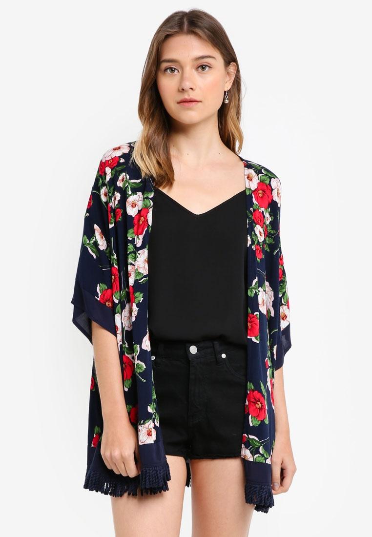 Borrowed Floral Kimono Something Cardigan Print Navy nz07xFwqC
