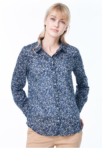 United Colors of Benetton blue Shirt with Allover Pattern. D4541AA0077BC1GS_1