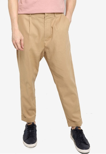 ZALORA BASICS beige Carotte Pleated Front Chinos 046F4AABCDA507GS_1