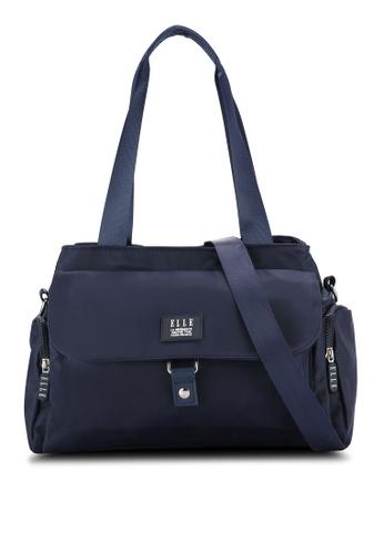 ELLE navy Tini 7 Twin Handle Bag EL900AC0RBCKMY_1
