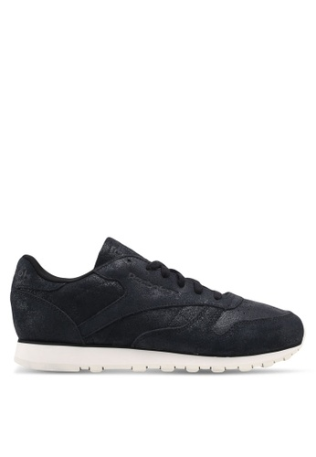 Reebok black Classic Leather Shimmer Shoes RE691SH0SW0XMY_1