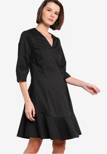 ck Calvin Klein black COTTON STRETCH TWILL DRESS F0638AA725FF05GS_1