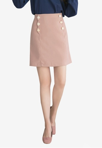 Yoco pink Double Buttoned Skirt 37ECBAAD259B72GS_1