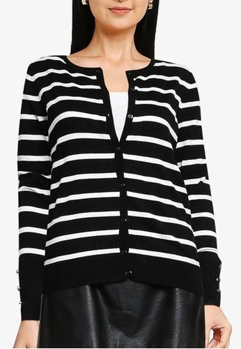 OVS black Striped Button Cardigan F4B3AAA76505A4GS_1