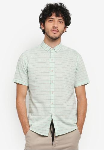 JAXON green Stripe Short Sleeves Shirt C6A43AA1D1142BGS_1