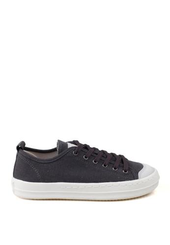 J.DAUL 灰色 經典厚底真皮帆布休閒鞋 JD556SH09Q5CTW_1