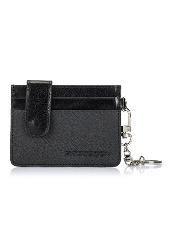 ENZODESIGN black and grey Saffiano/Buffalo Leather Credit Card Holder With Detachable Key Ring EN357AC0FEG0SG_1