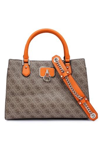 GUESS brown and orange Alisa Girlfriend Satchel Bag 185C6AC7FC7850GS_1